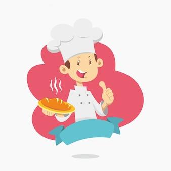 Мультипликационный персонаж шеф-повар с большим пальцем