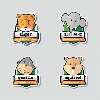面白い動物ロゴマスコットのセット