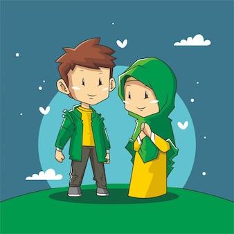 Романтическая пара мусульман с иллюстрацией