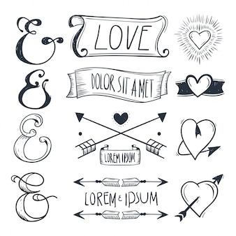 グリーティングカードのデザイン要素、愛、ロマンチックなアイコンセット