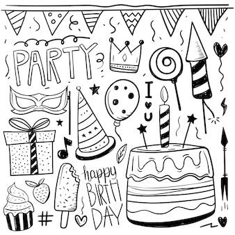 誕生日の要素の手書きのドールセット