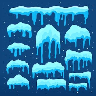 スノーキャップコレクション。雪のデザイン要素のセット