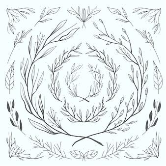 Коллекция цветочного свадебного орнамента