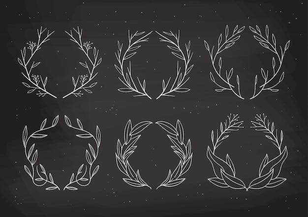 Коллекция венков для свадебного орнамента по шаблону приглашения