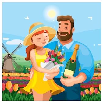 オランダのチューリップ畑のカップル