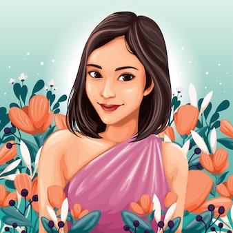 花の中で若い女性