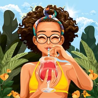夏の暑さの中の少女