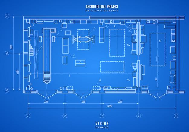 青写真の技術的な図面、青の背景に建築設計または建設プロジェクト