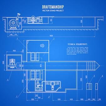 青の背景にスタンドデザインの設計図。建設計画