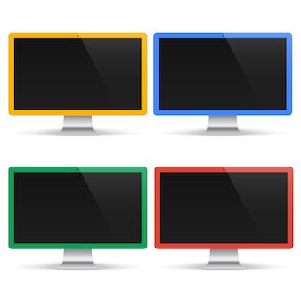 分離された黒い画面で色のコンピューターのセット。現実的なモニター