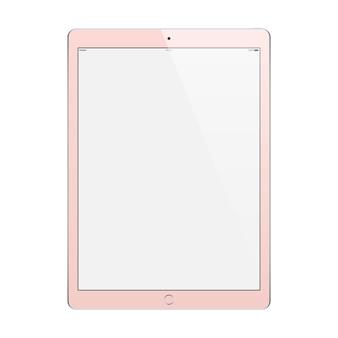 タブレットは、白い背景で隔離された空白のタッチスクリーンとゴールドのバラ色。ストックイラスト