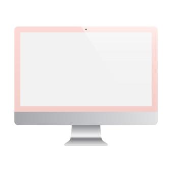空白の画面が白い背景で隔離のローズゴールド色を監視します。ストックイラスト