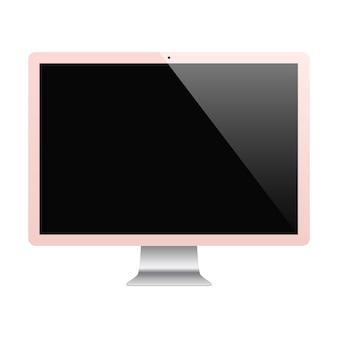 空白の画面が白い背景で隔離のローズゴールド色を監視します。