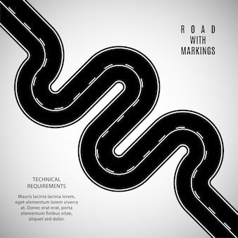 白い二重ソリッドと断続的なマーキングテンプレートを備えた黒い道路