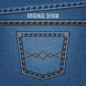 Джинсовая текстура синего цвета с карманом и строчкой. джинсовая ткань