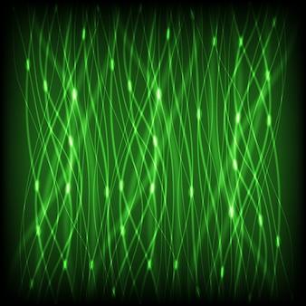 Зеленый абстрактный неоновые линии с блики фоном