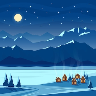Зимний ночной снежный пейзаж с луной, горами, холмами, елями, уютными домиками с освещенными окнами, рекой, озером. рождество и новый год приветствуя. плоская иллюстрация.