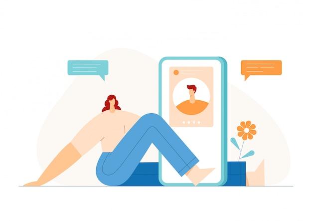 人々ビデオチャットコンセプト、スマートフォンのディスプレイ上のモダンなキャラクタープロファイル。オンラインデートアプリケーション。フラットの図。