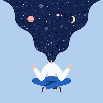 Женщина, сидящая в позе лотоса йоги. ночное звездное небо и луна в волосах. плоская иллюстрация.