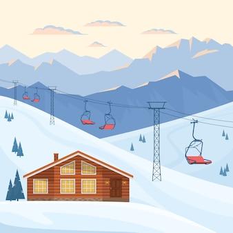 赤いチェアリフト付きのスキーリゾート