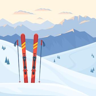 Красное лыжное снаряжение на горнолыжном курорте. снежные горы и склоны, зимний вечер и утренний пейзаж, закат, восход. плоская иллюстрация.