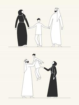 Традиционная арабская семья, мусульманская культура. мужчина, женщина и ребенок.