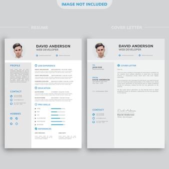白と黒の背景を持つプロのモダンな最小限の履歴書デザインテンプレート