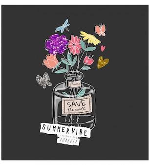 Летняя атмосфера лозунг с красочными цветами в стеклянной вазе иллюстрации на черном фоне