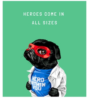 Типография слоган с черной собакой в красной маске иллюстрации