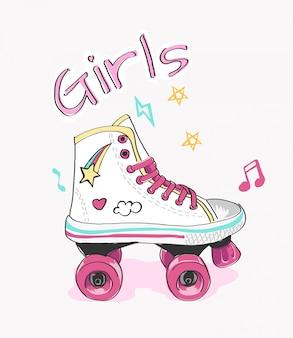 ローラースケートとかわいいイラストのタイポグラフィスローガン
