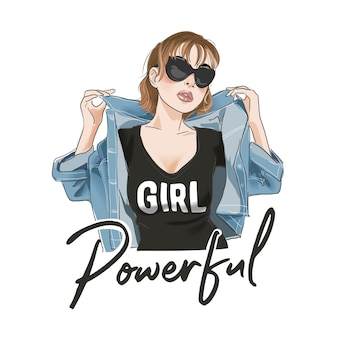 Мощный слоган с изображением мультяшной девушки в футболке и пиджаке