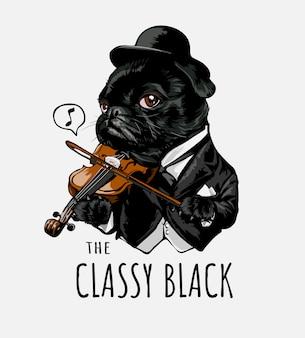 Стильный черный слоган с мультфильм собака играет на скрипке иллюстрации