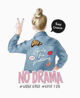 デニムジャケットとかわいいアイコンイラストの漫画の女の子とタイポグラフィのスローガン