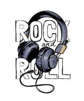 Слоган рок-н-ролл с графической иллюстрацией наушников
