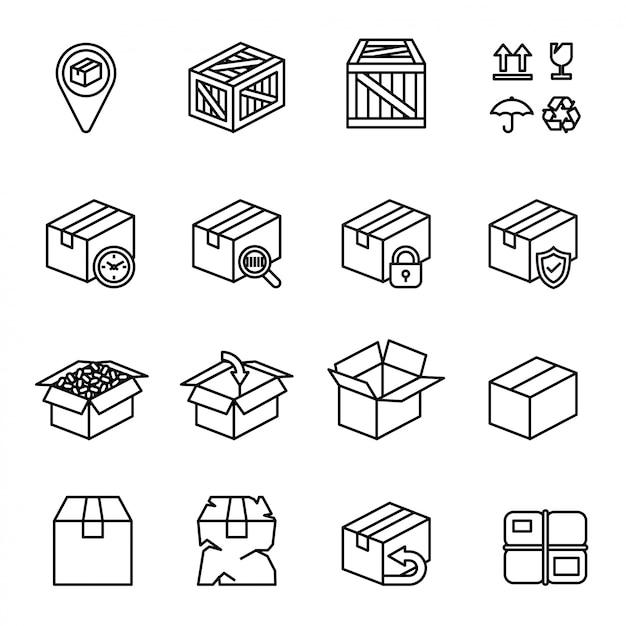 Набор значков в коробке.