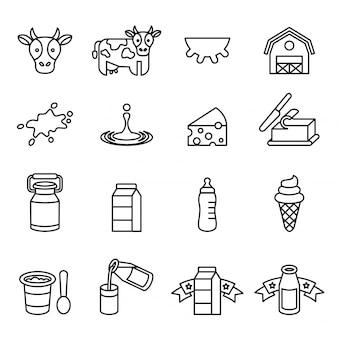 Набор иконок для молочных продуктов