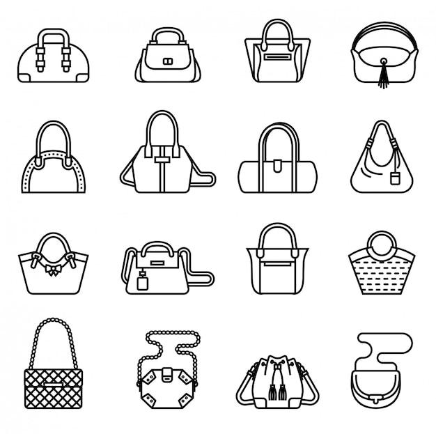 Женская сумка сумочка кошелек женщина набор. тонкая линия стиль векторного.