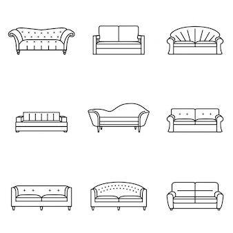 Диван значок линии набор. современная, винтажная и ретро коллекция диванов. мебель наброски символов.