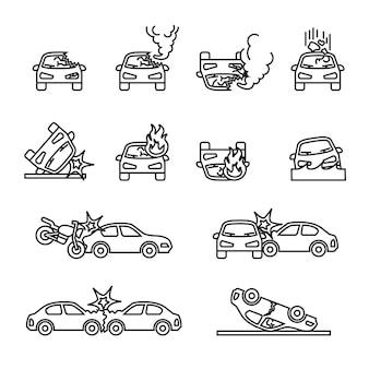 自動車事故、自動車事故関連のベクトルアイコンを設定します。