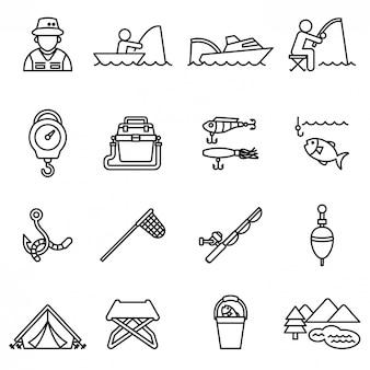 Набор иконок рыбалка
