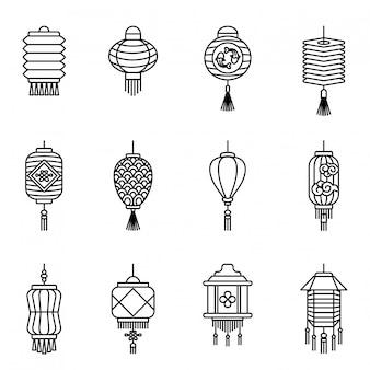 Вектор икона китайский фонарь. фонарь символ стиль тонкой линии
