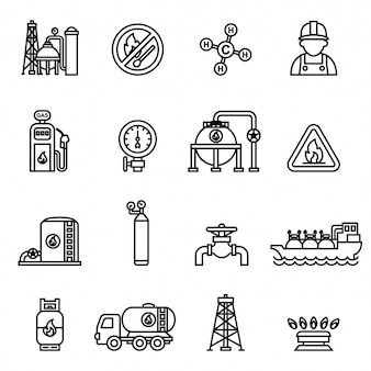 Сжатый и жидкий иконки природного газа, установленных на белом фоне.