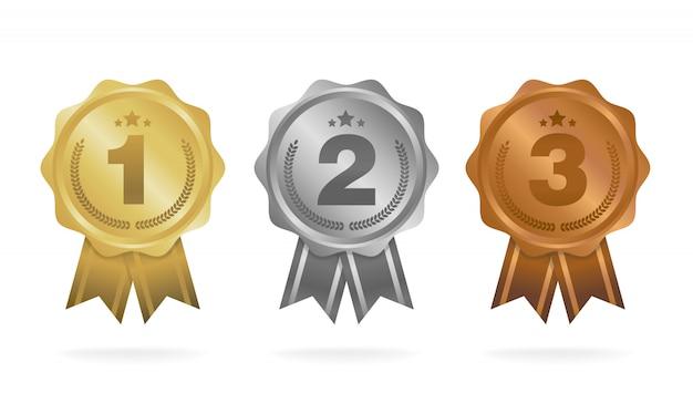 Первое место. второе место. третье место. набор наградных медалей