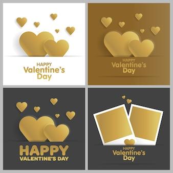 Золотая открытка с днем святого валентина набор.