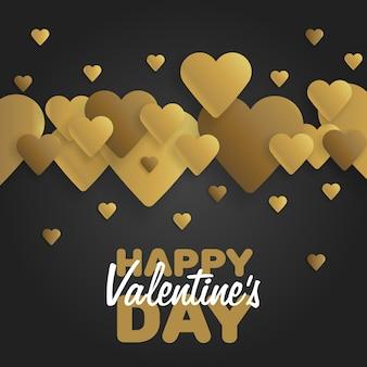Золотая открытка с днем святого валентина