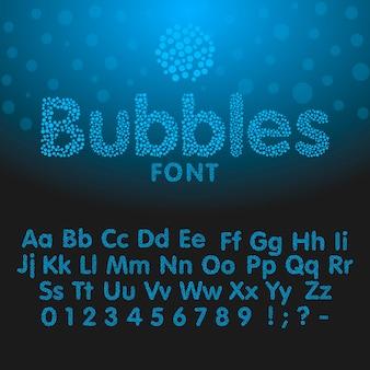 青い泡から成るアルファベット