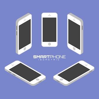 Мобильный телефон с четырех сторон значок набор векторных графических иллюстраций.