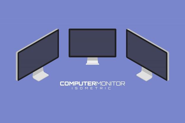 コンピューターアイコンセットベクトルグラフィックイラスト。正面、右、左の等角図