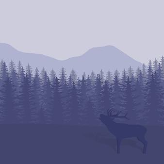 木と鹿のシルエットの図