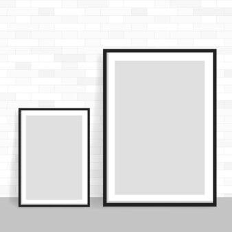 Реалистичная рамка на кирпичной стене света гранж. идеально подходит для ваших презентаций. рамка для ваших проектов.